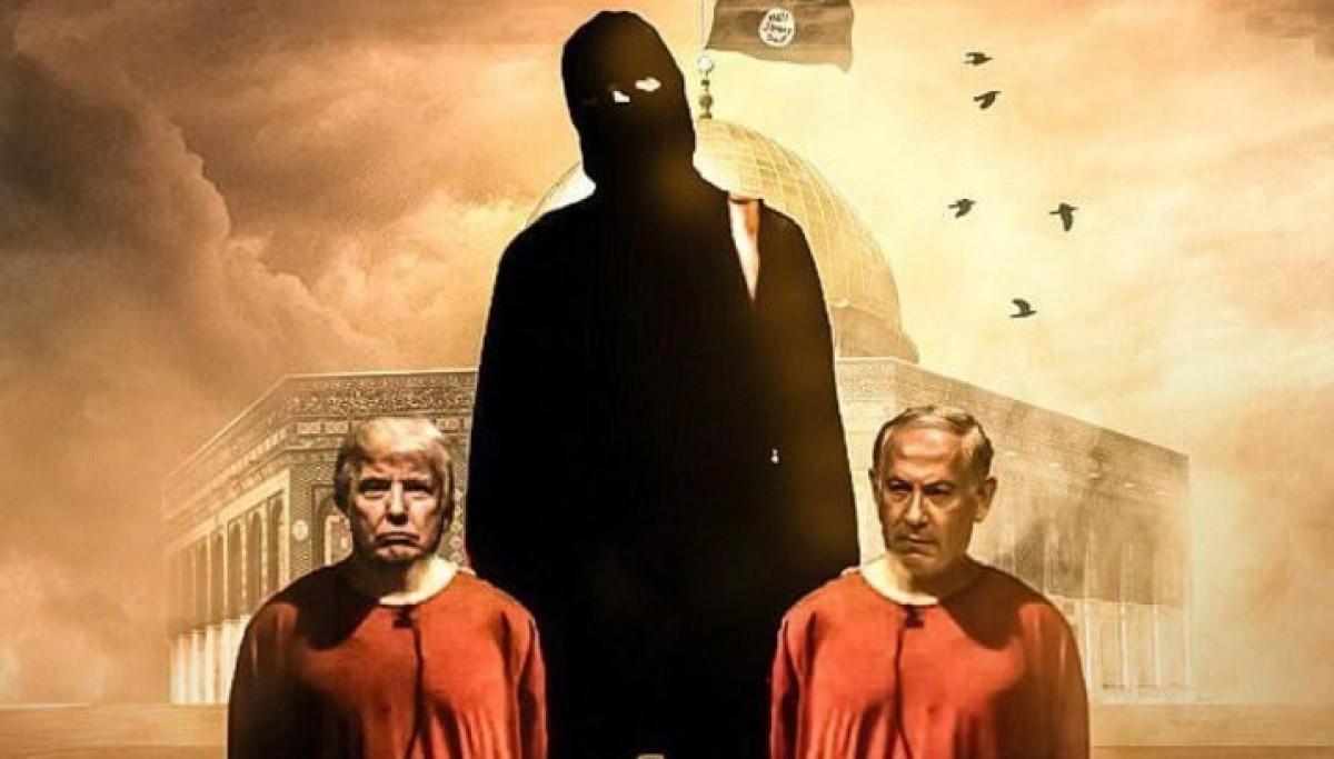 El ISIS amenaza a Trump y Netanyahu, detalle del cartel