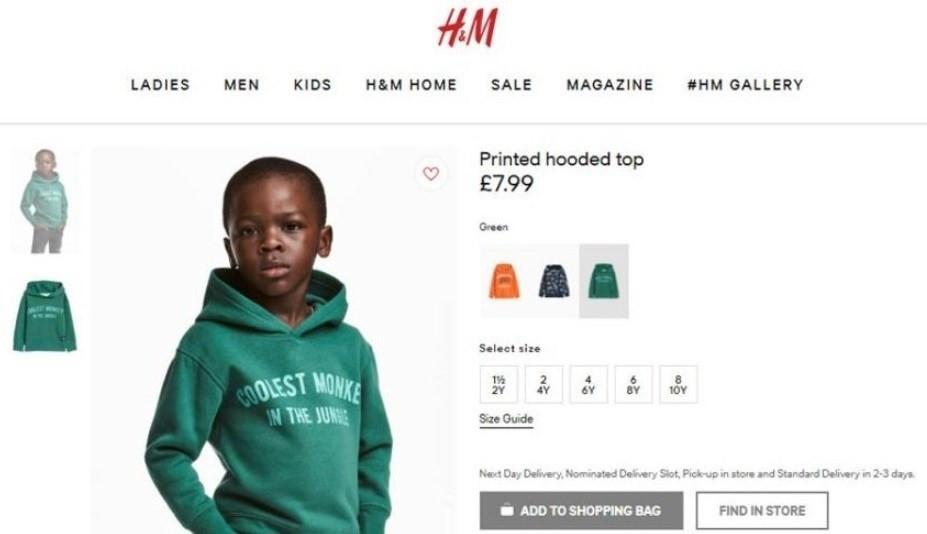 Sudadera de H&M calificada de racista
