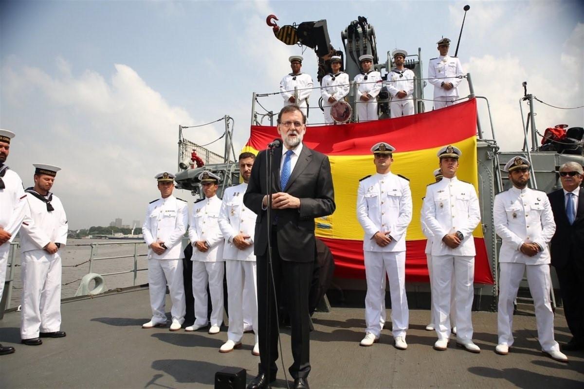 Rajoy visita a los militares espau00f1oles desplegados en el Golfo de Guinea