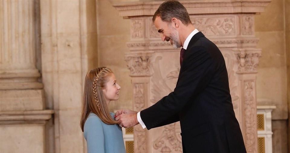 Felipe VI impone el Toisu00f3n de Oro a la Princesa de Asturias