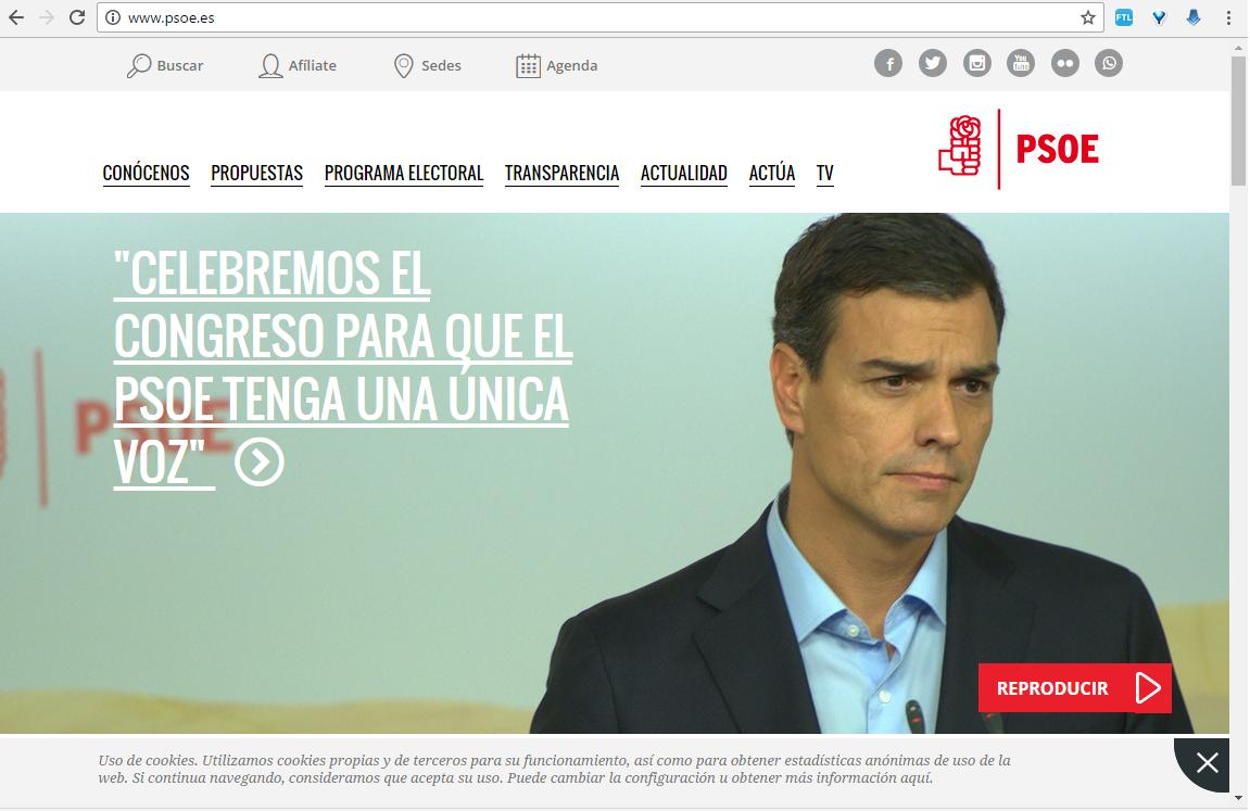 PSOE web Sanchez triste