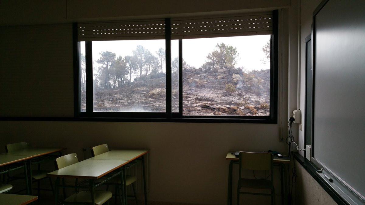 Monte ardido desde clase
