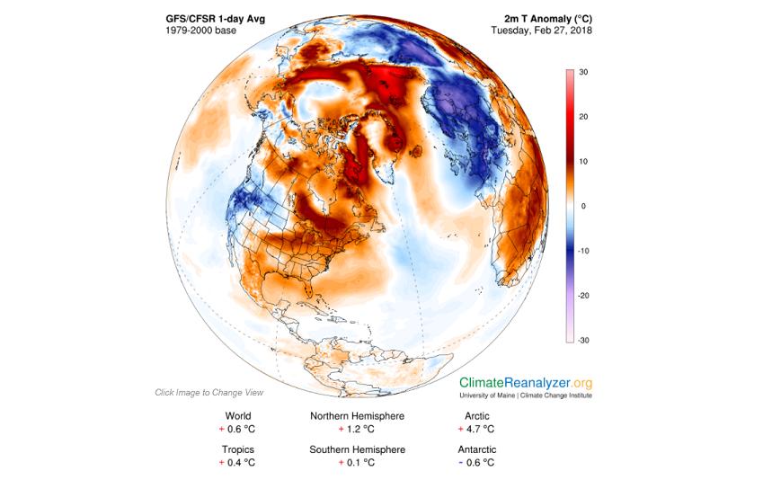 Temperaturas anu00f3malas en el Polo Norte