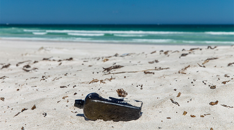 Oldest message in a bottle bottle on beach video