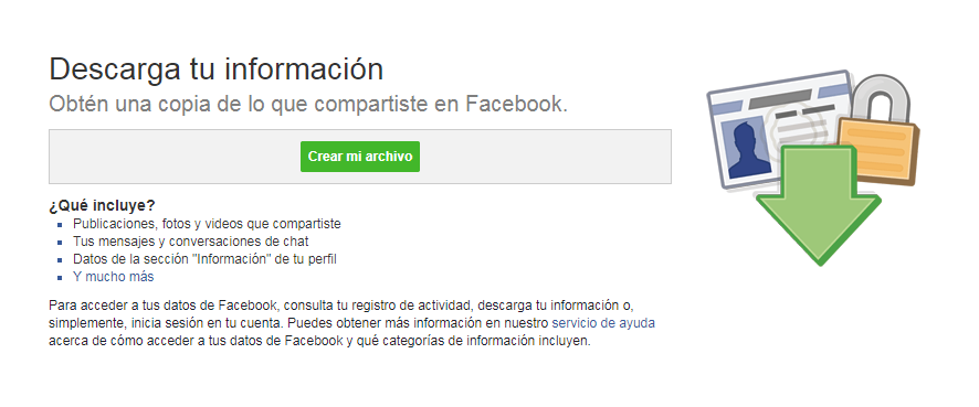 Descargar una copia de tus datos de Facebook
