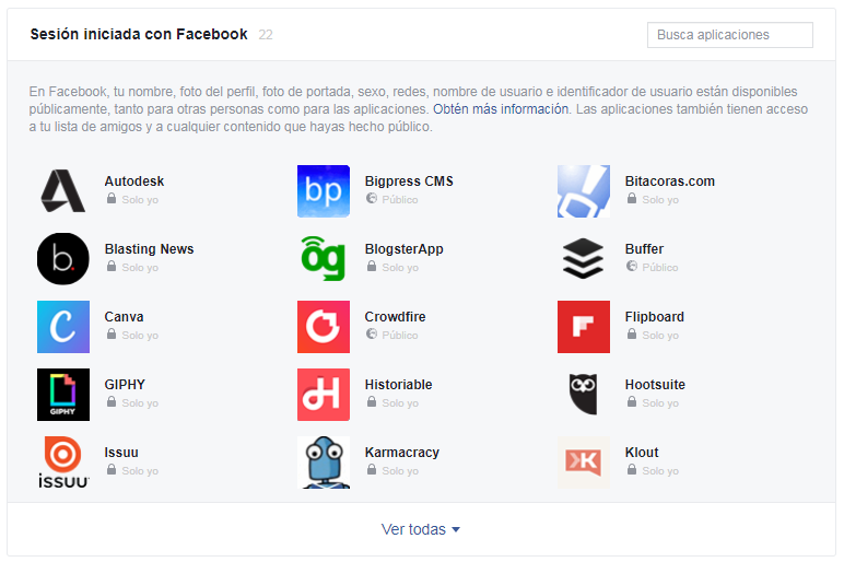 Borrado manual de aplicaciones en Facebook