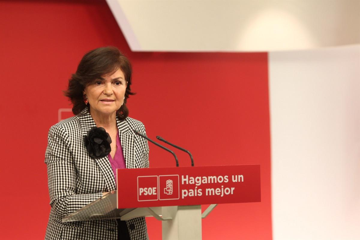 Rueda de prensa de la secretaria de Igualdad del partido, Carmen Calvo
