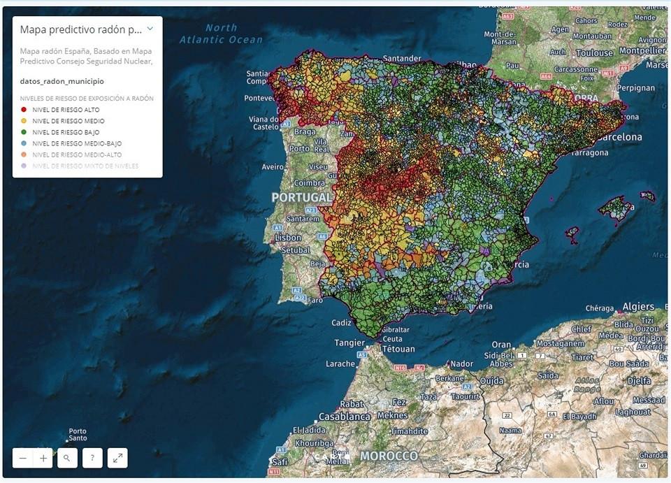 Mapa de riesgo de gas radu00f3n en Espau00f1a