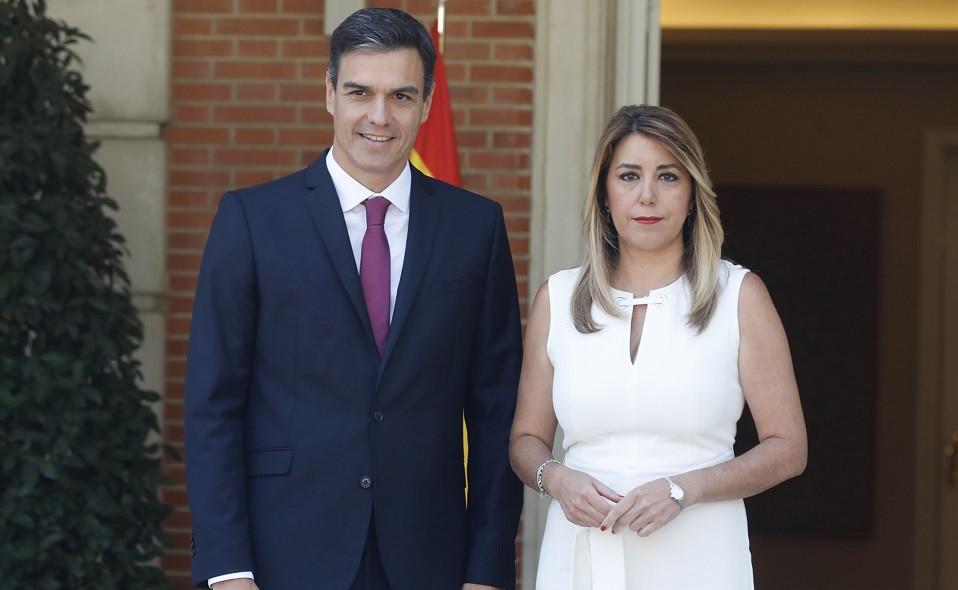 Pedro Su00e1nchez recibe a la presidenta de la Junta de Andalucu00eda, Susana Du00edaz