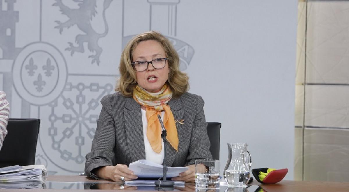 Nadia Calviu00f1o, en la rueda de prensa tras el Consejo de Ministros extraordinario Marta Fernu00e1ndez Jara