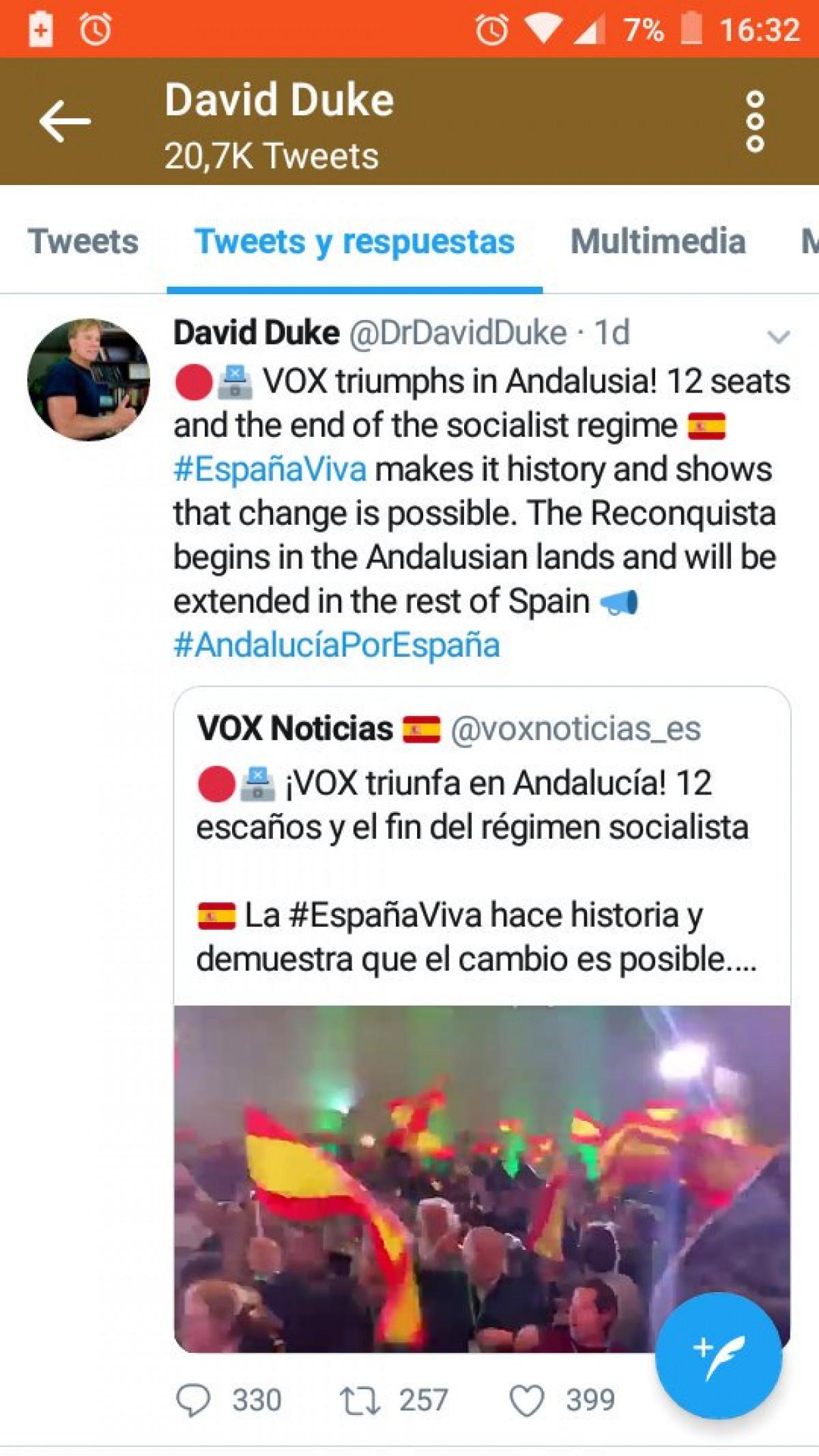 David Duke felicita a Vox