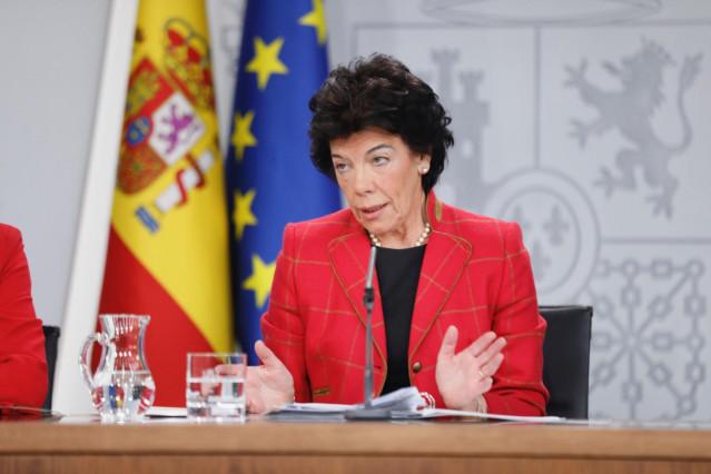 Celaá, en la rueda de prensa posterior al Consejo de Ministros