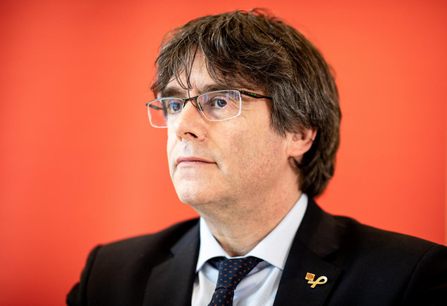 FILED - 03 June 2019, Hamburg: Carles Puigdemont, Former President of the Government of Catalonia, speaks during a press conference at a hotel complex in Hamburg. Puigdemont accused the European Union of negativity toward Spain's handling of protests marr