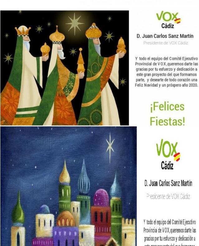 Las dos felicitaciones de Vox Cádiz enviadas