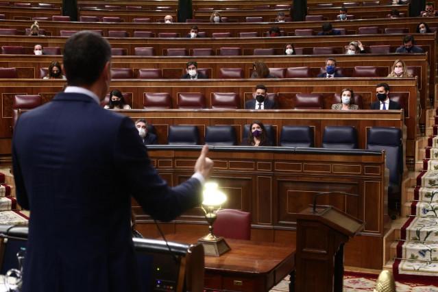 El presidente del Gobierno, Pedro Sánchez, interviene durante una sesión de Control al Gobierno en el Congreso de los Diputados, en Madrid, (España), a 24 de febrero de 2021. El pleno estará marcado por la intervención del presidente del Gobierno quien te